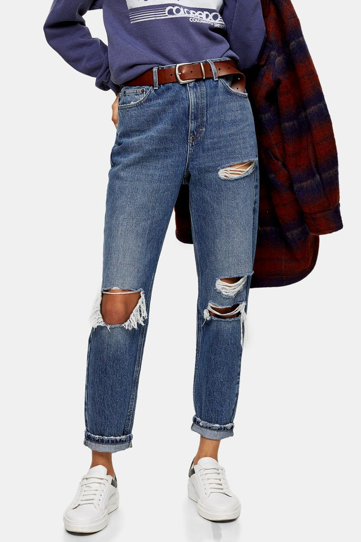 Ripped Mom Tapered Jeans