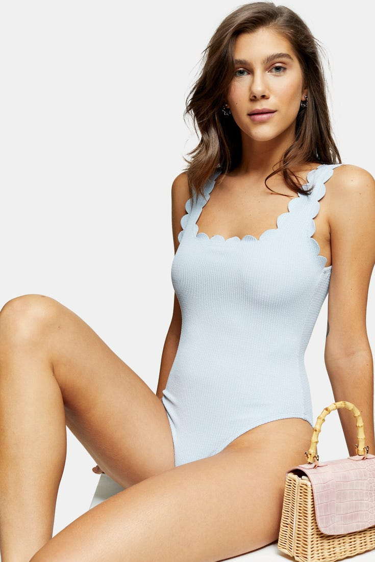 Scallop Wavy Ribbed Swimsuit