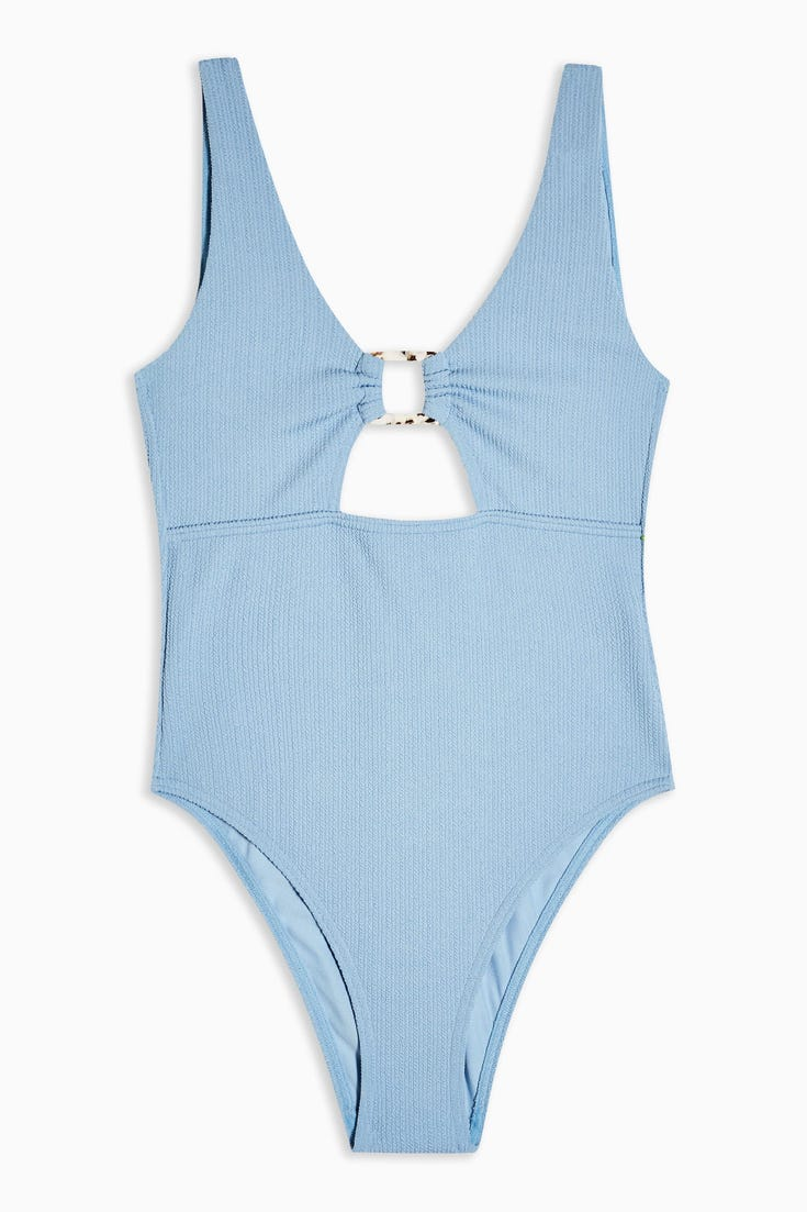Crinkle Ring Cut Out Swimsuit