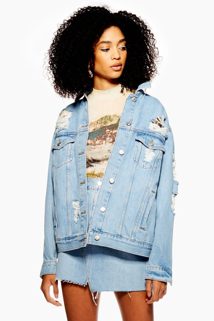 Denim Ripped Oversized Jacket