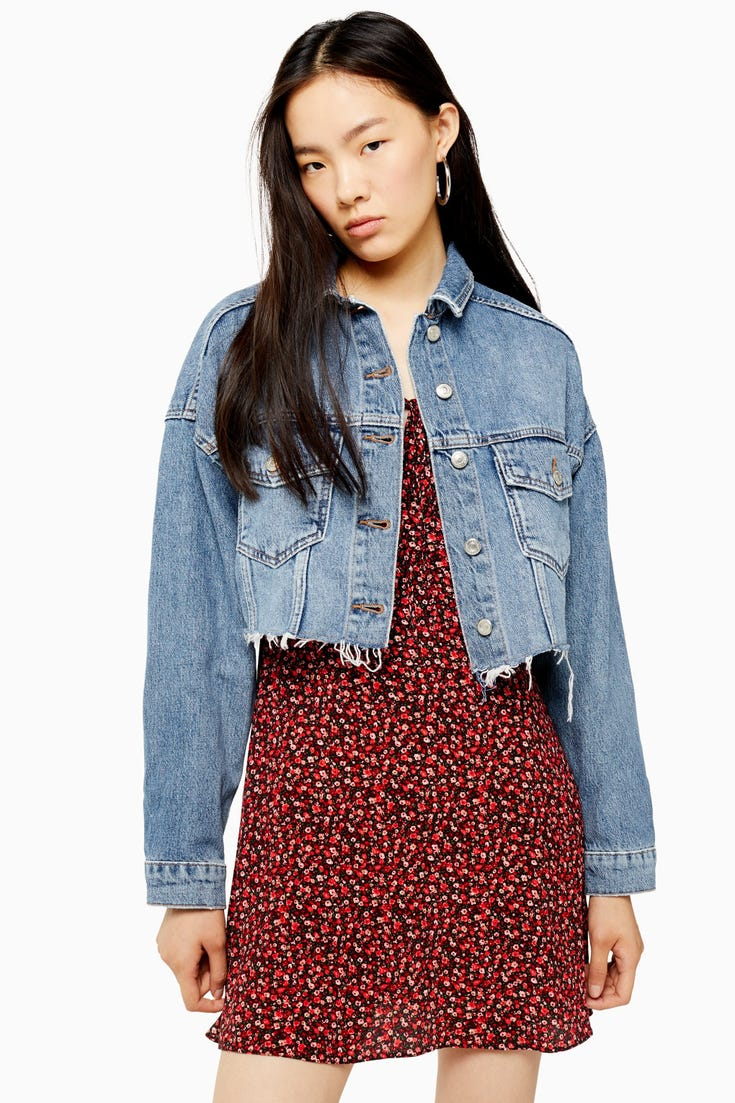 Denim Hacked Off Crop Jacket