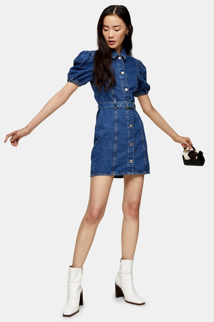 Considered Puff Sleeve Belted Denim Dress