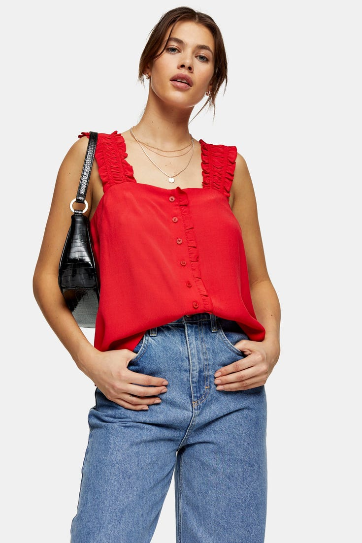 Button Frill Cami Top