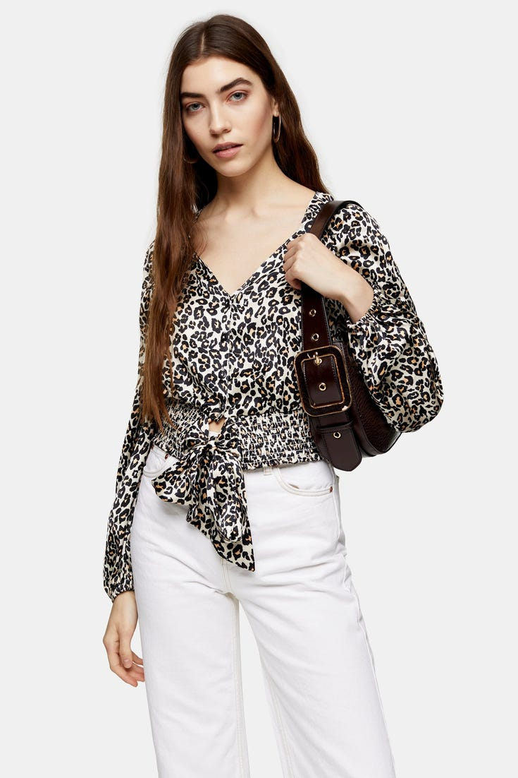 Animal Print Shirred Tie Front Blouse
