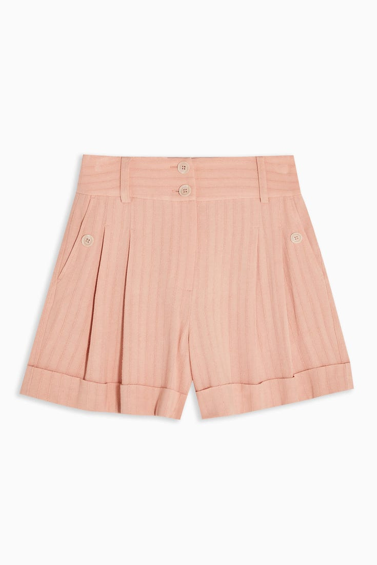 Stripe Shorts With Linen