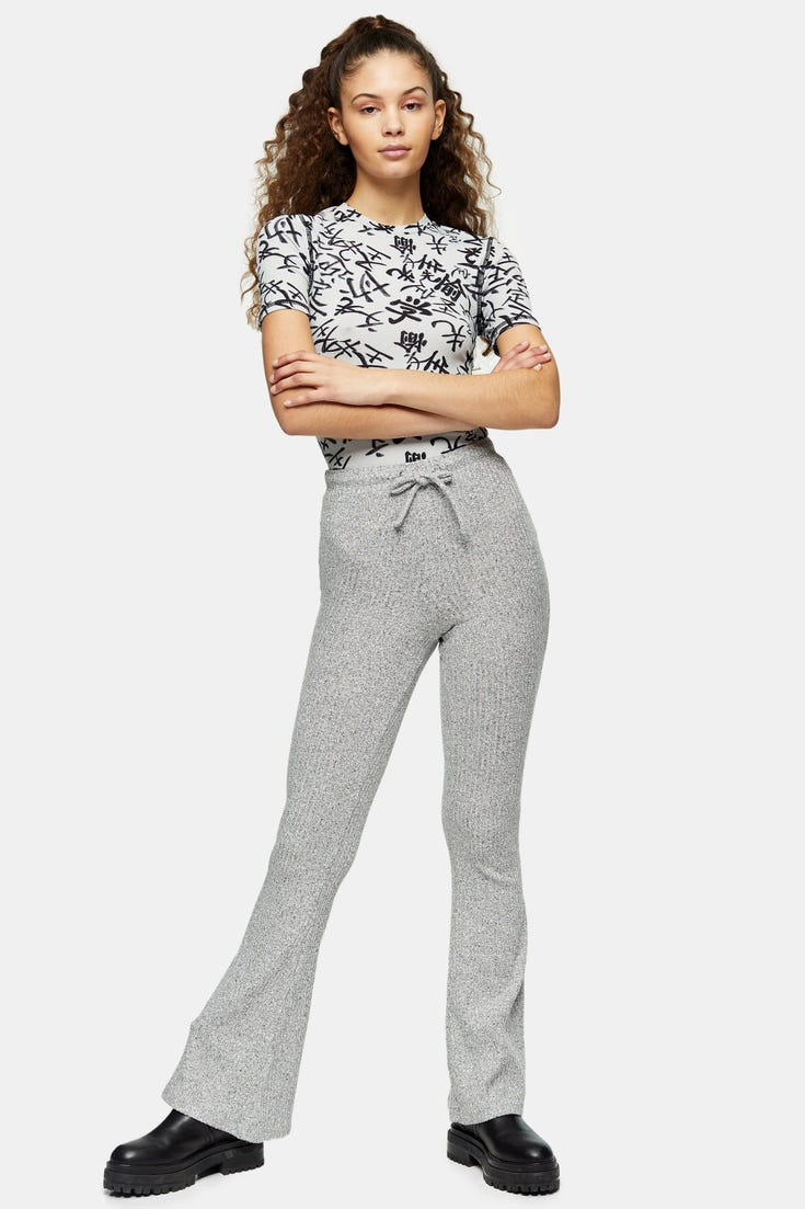 Tie Ribbed Flare Trousers