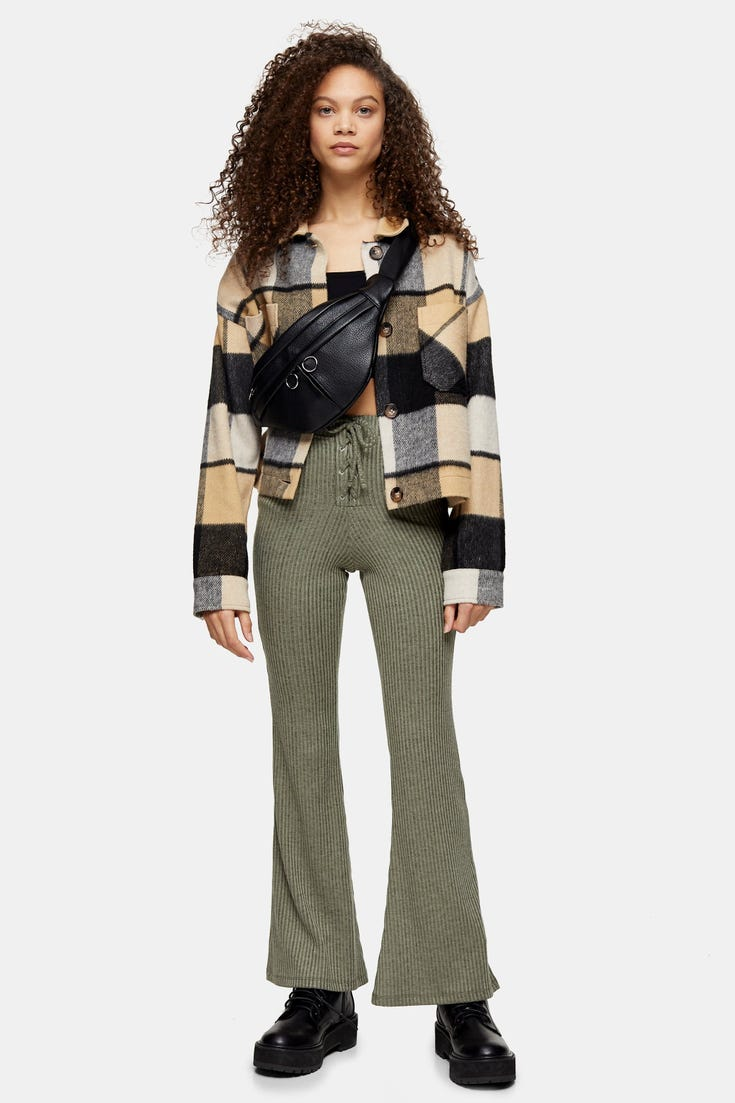 Petite Lace Up Flare Trousers