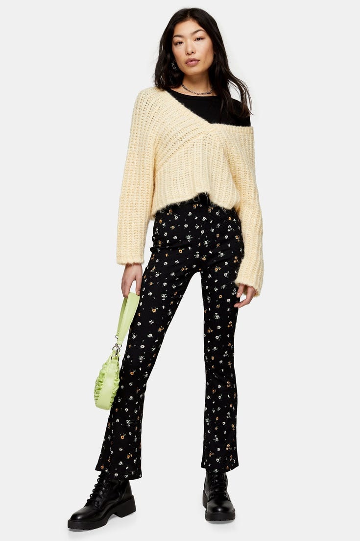Petite Ditsy Flare Trousers