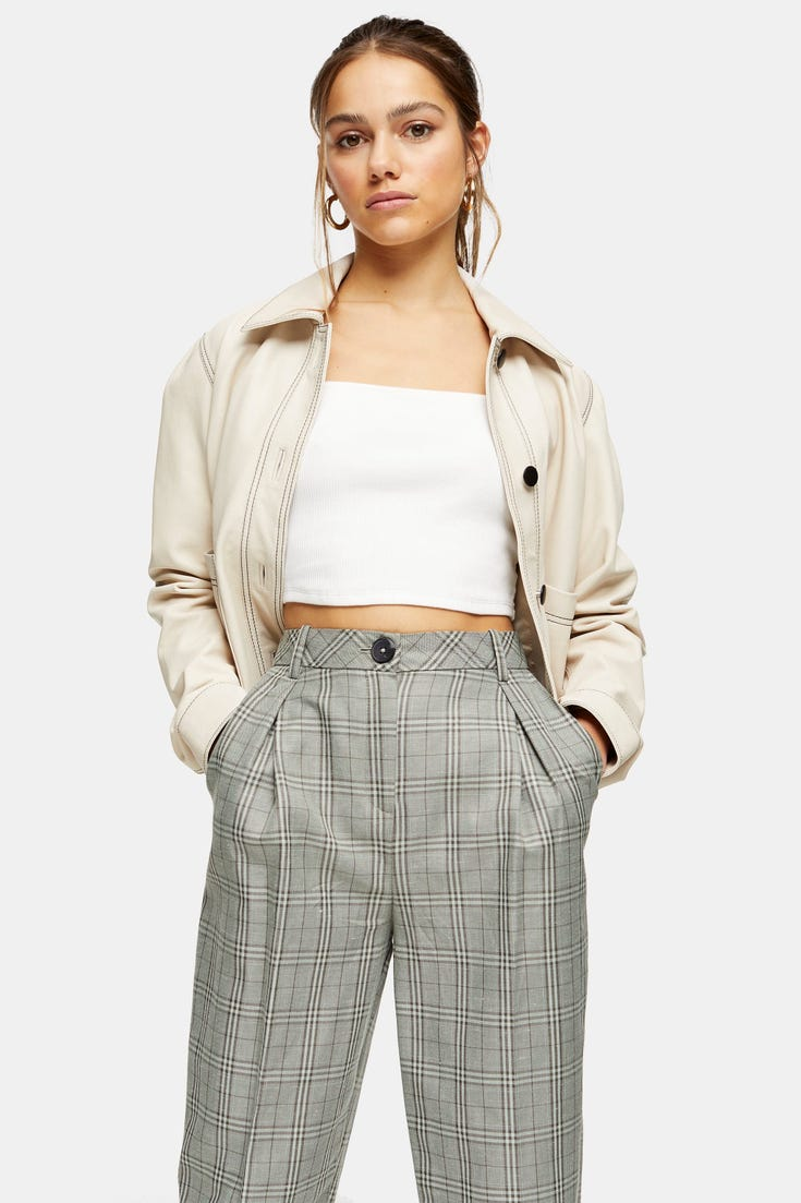 Petite Check Ovoid Peg Trousers